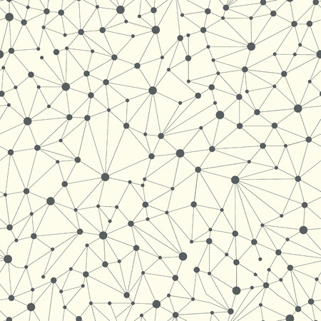 Lines connections like a neural connections vector background. With dots in nodes. Web seamless pattern.