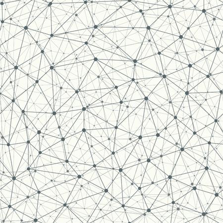 Fond de vecteur de connexion bionique répétitif avec des points dans les nœuds. Connexion de molécule avec effet 3D. Modèle sans couture monochrome.