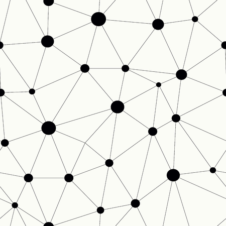 Simple line network connection with big dots in nodes. Monochrome repetitive vector background. Knot grid seamless pattern. Фото со стока - 121667140