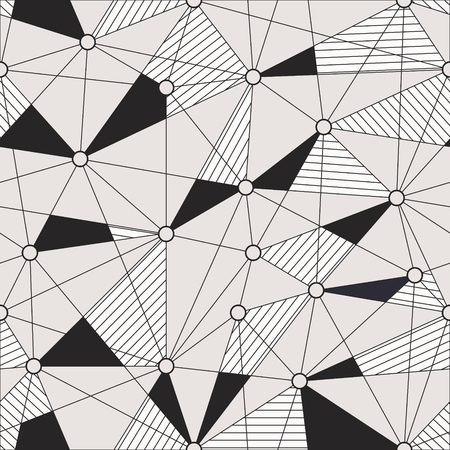 Geometric endless background with striped triangles, round shapes connected with lines. Monochrome grid seamless pattern.