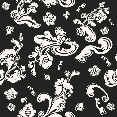Monochrome endless decor vector background. Decorative floral texture. Packaging seamless pattern.