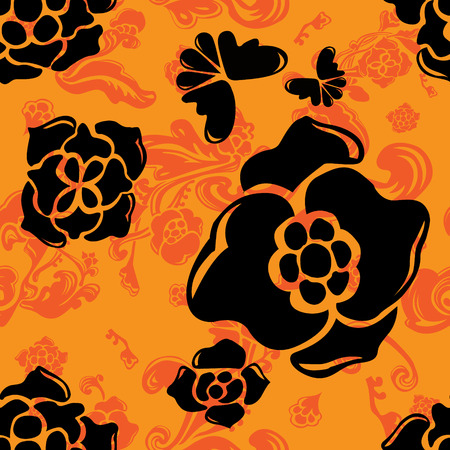 Romantic orange vector background with black abstract flower silhouette. Endless floral design. Elegant seamless pattern. 일러스트