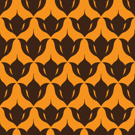Silhouettes of lily bulbs set in repetitive rows. Floral vector background. Decorative seamless pattern.
