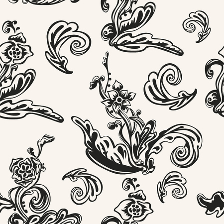 Abstract flowers silhouettes vector background. Elegant monochrome endless wallpaper. Decorative seamless pattern with floral design.