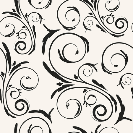 Repetitive floral curls vector background. Decorative monochrome seamless pattern with elegant swirls.