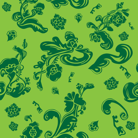 Endless vector background with abstract floral elements with green tones. Delicate seamless pattern with flowers. 일러스트