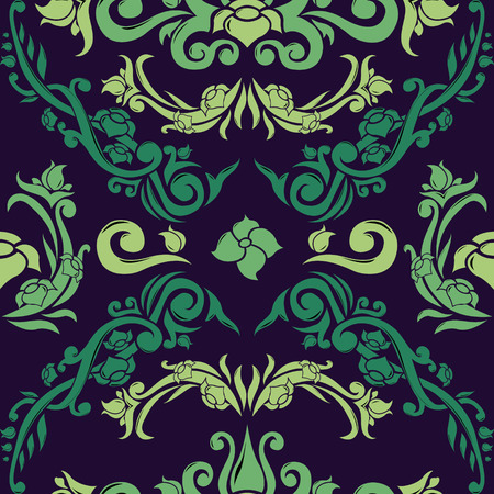 Colored damask vector background with green tones. Endless floral wallpaper. Elegant seamless pattern.