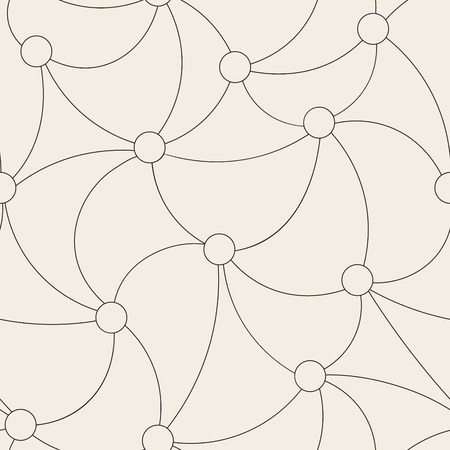 Endless vector background with curved lines connecting circles. Beautiful simple grid seamless pattern.