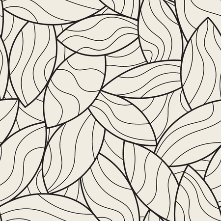 Randomly overlapping leaf mosaic vector background. Leaves with undulated lines grid. Monochrome seamless pattern.