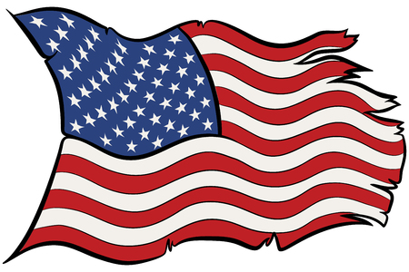 Hand drawn vector of USA flag waving torn and broken by the wind. 向量圖像