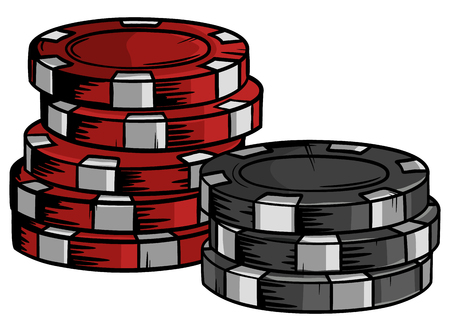 Two piles of poker chips of different values in vector format. Hand drawn casino cips with cartoon design. 일러스트