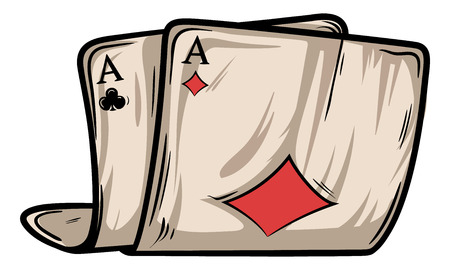 Two old folded poker cards vector with shadows and lights. Diamond and spades aces.