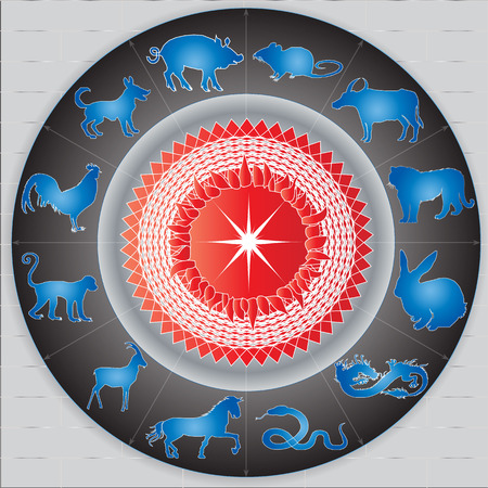 Chinese Zodiac sign on the Sun Vector