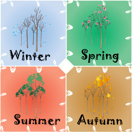 illustration technique: 4 Seasons change from Winter Spring to Summer and Autumn created by vector illustration technique Illustration