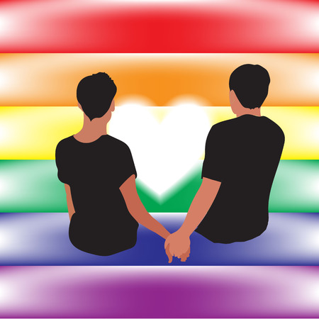 gay love: gay love relationship on their flag