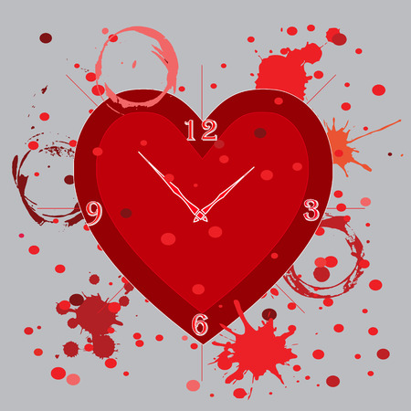 illustration technique: Dead line Hour with blood clot art created by vector illustration technique