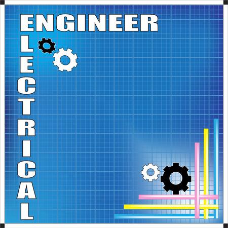 ingenieur electricien: Ing�nieur �lectrique de fond avec des engins ic�ne sur fond bleu Illustration