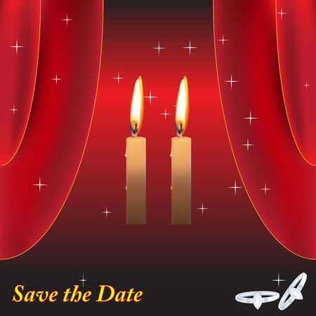 date night: Wedding night scene in romantic moment with dim of candle light remember night save the date forever with ring on red background Illustration