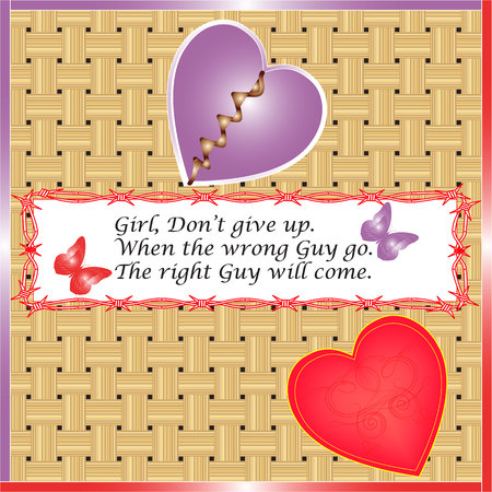 illustration technique: broken heart girl but do not give up created by vector illustration technique Illustration