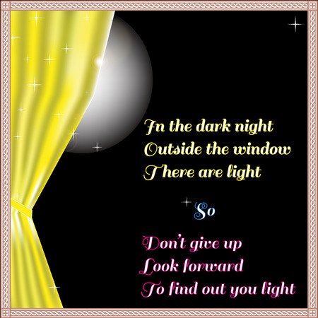 widow: Light of hope In the dark night outside the widow throught the yellow curtain view