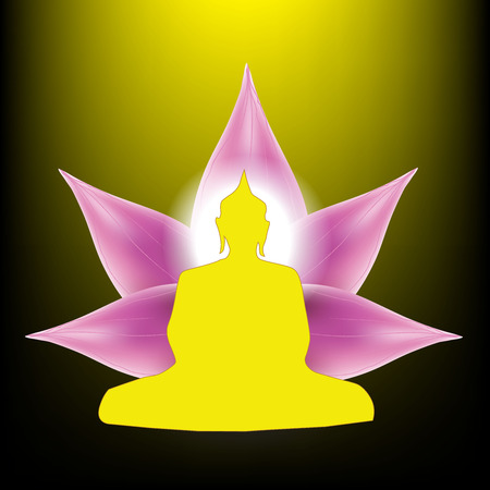 lotus petal: Silhouette of Buddha sitting with lotus petals flower background