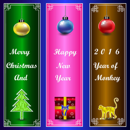 horozontal: Christmas and happy new year 2016 on Chinese frame horozontal background
