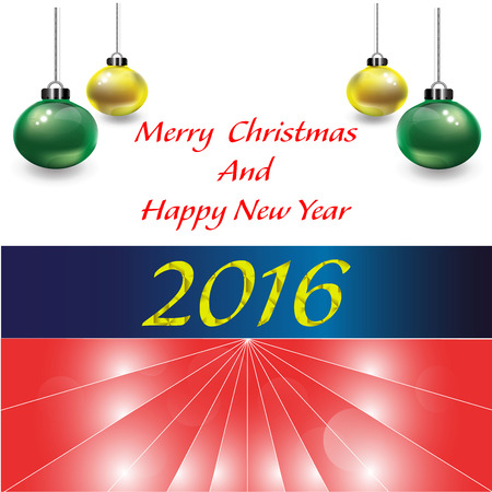 half ball: 180. Happy New year 2016  with christmas ball on half white background