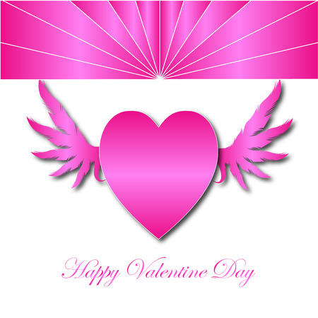 heart with wings: Happy Vaentine Day with Pink  Heart wings