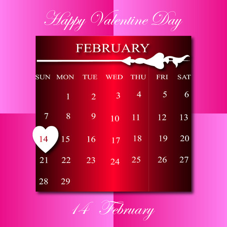 february calendar: Happy Vaentine Day on February calendar in pink  square background