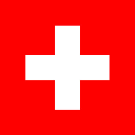 european flag: Switzerland flag in standard proportion and color mode RGB