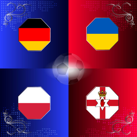 uefa: UEFA EURO 2016 football with flags of group C
