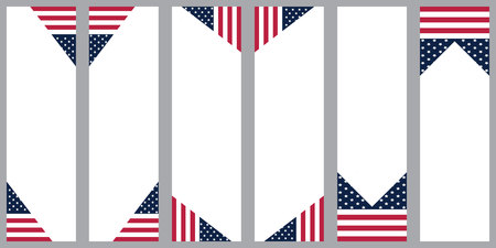 us sizes: banner with flag of United State of America vertical line Illustration