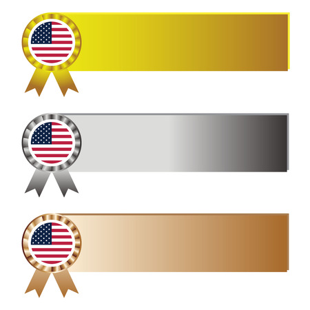 us sizes: Award in United State of America flag with banner