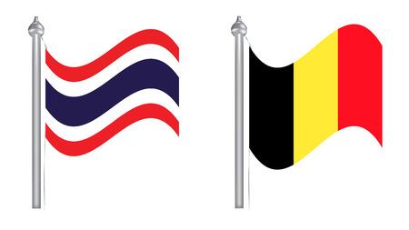 flying flag: Flag of Thailand and Belgium. Flying flag