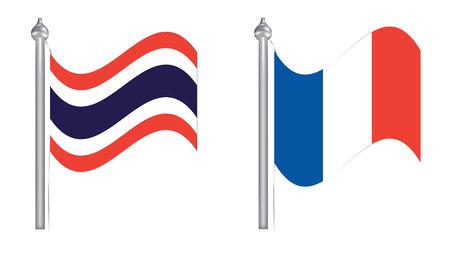 flying flag: Flag of Thailand and France. Flying flag for International relationship