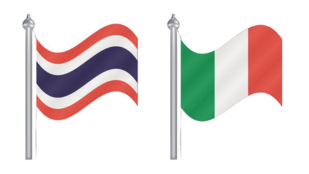 flying flag: Flag of Thailand and Italy. Abstract Flying flag for International relationship