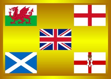 ulster: Flag of country in United Kingdom, United Kingdom Member on golden frame