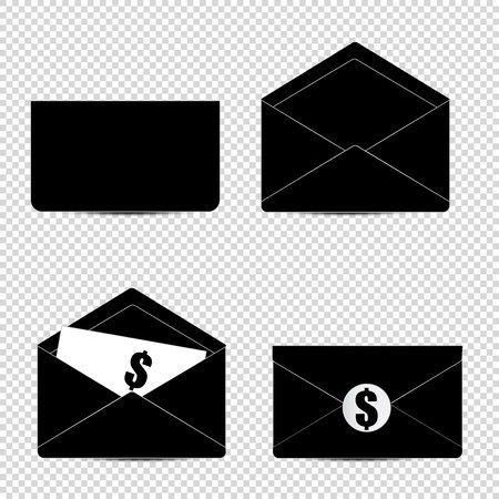 reciever: Letter. Set of of black and white letter with dollar icon