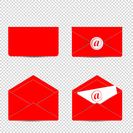 reciever: Letter. Set of of Red letter with email icon Illustration