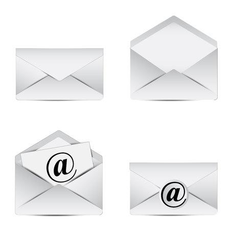 reciever: Letter. Set of White letter icon