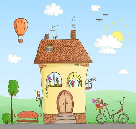 cottage garden: Cartoon house with yard illustration