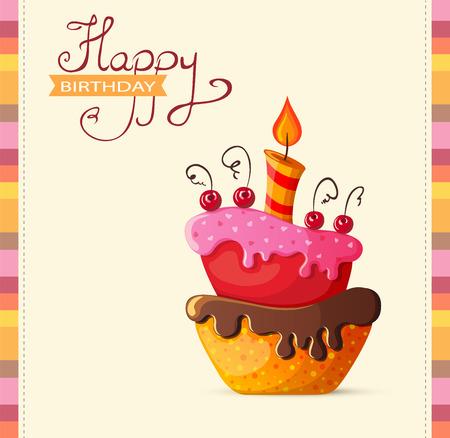 happy birthday party: Tarjeta de cumplea�os con pastel de ilustraci�n