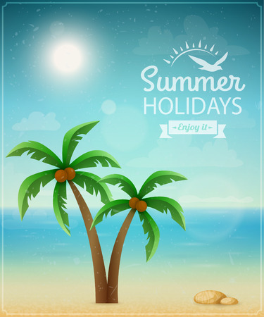 coconut water: Beach typographic background with palms  Illustration