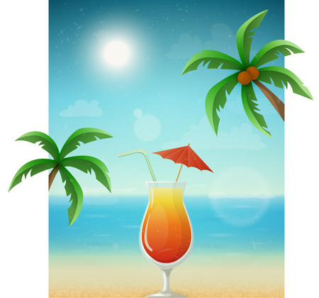coconut water: Beach background with cocktail and palms