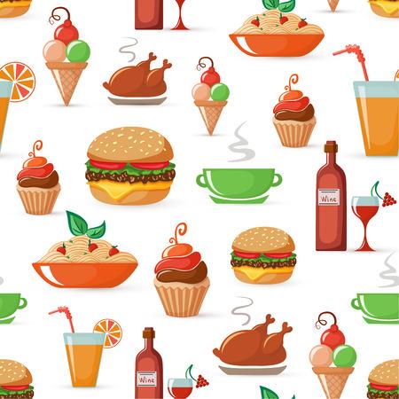 pan y vino: Alimentos sin fisuras patrón Vectores