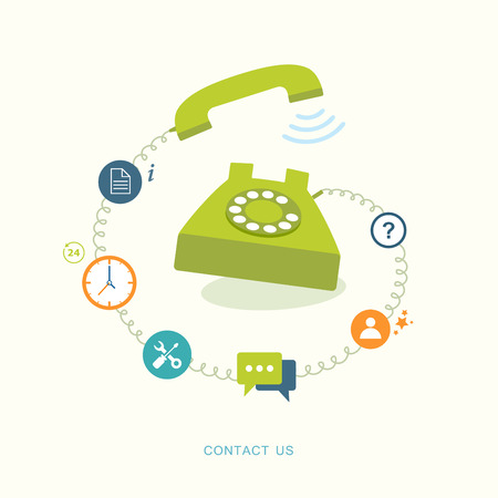 Contact us flat illustration with icons. Иллюстрация