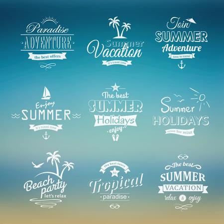 beach vacation: Beach labels set on blue