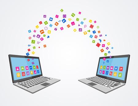 synchronizing: Data synchronizing concept flat illustration.