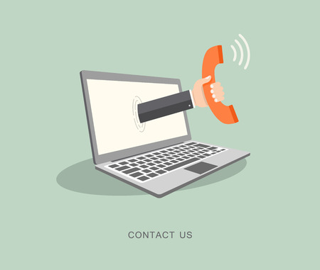 contact person: Hand holding phone coming out from laptop. Contact us flat illustration.