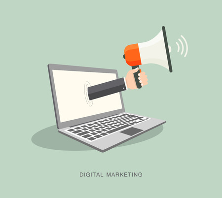coming out: Hand holding megaphone coming out from laptop. Digital marketing flat illustration.